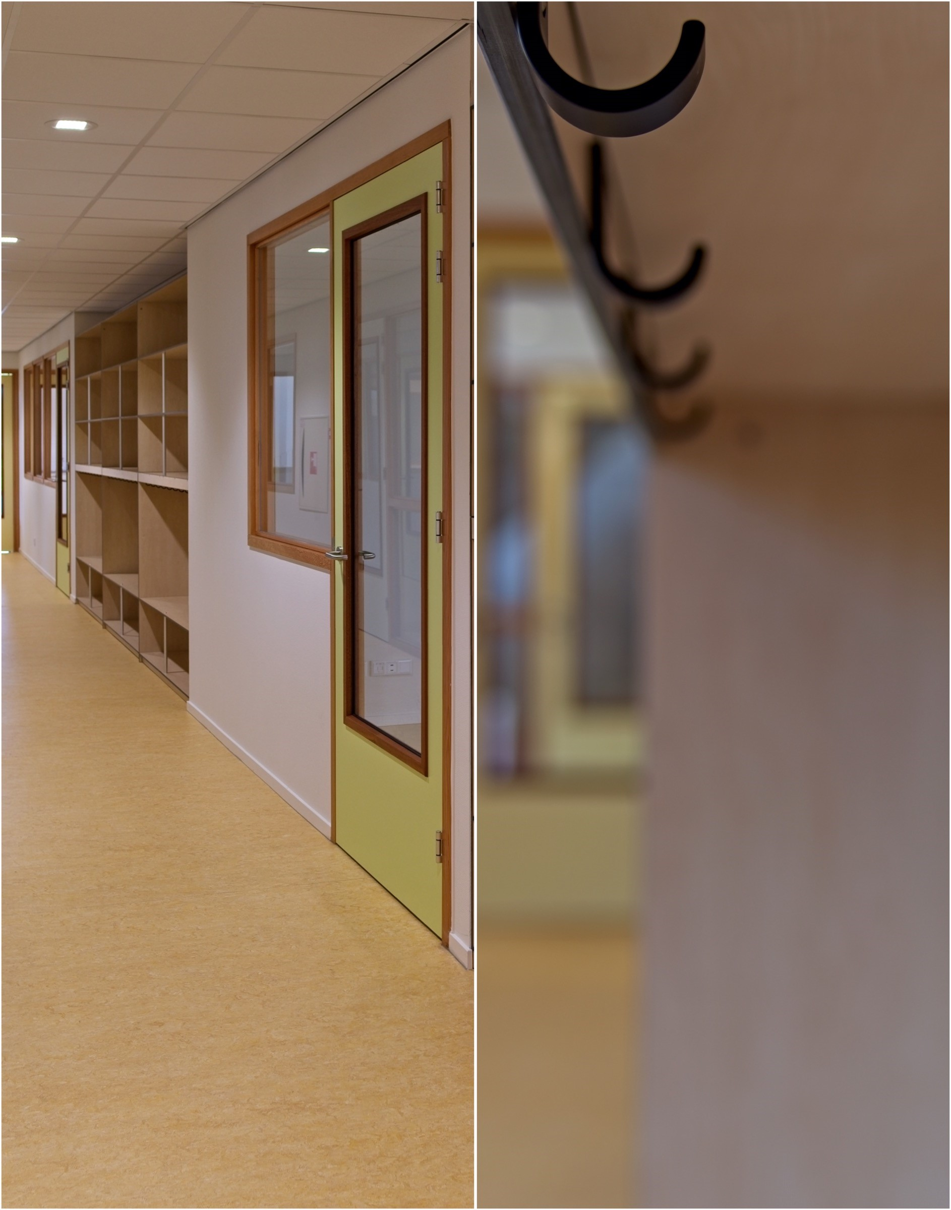 Hermeta Interieurbouw Sterren school Hilversum zwarte haak jashaal garderobe garderobemeubel circulair