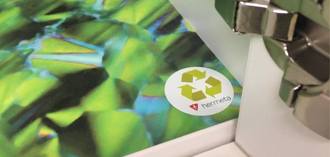 Hermeta duurzaamheid circulair hergebruikte materialen logo locker